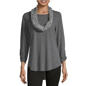 NWT Alyx 3/4 Sleeve Knit Blouse with Scarf